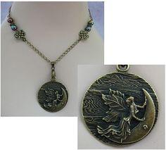 Burnished Gold Celtic Moon Fairy Pendant Necklace