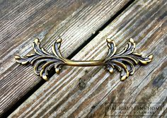 French Vintage Antique Brass Drawer Pull by www.MagicalBeansHome.com or MagicalBeansHome Etsy