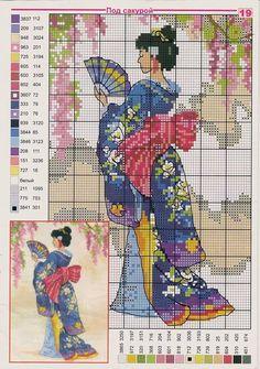 point de croix femme japonaise, geisha - cross-stitch japanese woman, geisha