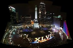 Monument Circle, Indianapolis, during Super Bowl 46 festivities. Photo by Adam Becker.