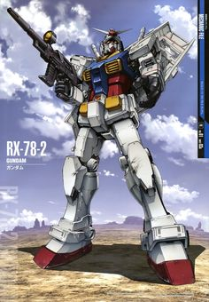 The RX-78-2 Gundam (aka the Gundam or the White Mobile Suit) is the titular mobile suit of Mobile Suit Gundam. Part of the RX-78 Gundam series, it was built in secret on Side 7. The Gundam would turn the tide of war in favor of the Earth Federation during the One Year War against the Principality of Zeon. The unit was primarily piloted by the series' main protagonist Amuro Ray.