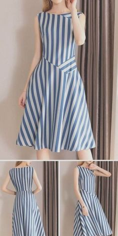 Casual O-Neck Gathered Waist Pinafore Patchwork Skater Dress fashion dresses casual Dresses Elegant, Simple Dresses, Casual Dresses, Dresses For Work, Summer Dresses, Formal Dresses, Wedding Dresses, Casual Outfits, Winter Dresses