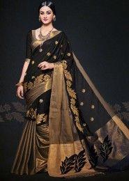 Black Cotton Silk Party Wear Zari Work Saree