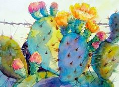 Prickly Pear Cactus Art Print by Watercolor Projects, Watercolor Images, Watercolor Artists, Watercolor Paintings, Watercolors, Cactus Painting, Cactus Art, Cactus Pics, Watercolor Succulents