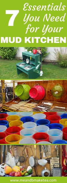 7 Mud Kitchen Essentials You Absolutely Need to Get Now! - Have a look at accessories and kitchen utensils you can add to make any mud kitchen or play station super fun - think outside the box and reuse and upcycle anything chucked in the recycling box! Diy Mud Kitchen, Mud Kitchen For Kids, Diy Outdoor Kitchen, Kitchen Ideas, Kitchen Tips, Diy For Kids, Crafts For Kids, Kids Outdoor Play, Outdoor Learning