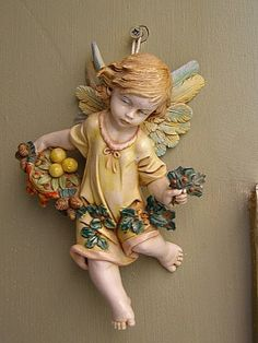 Vintage Fontanini Angel with flowers Italy production by MeshuMaSH, $75.00