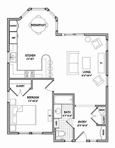Cottage Design cottage style house plan - 2 beds 1 baths 544 sq/ft plan #514-5