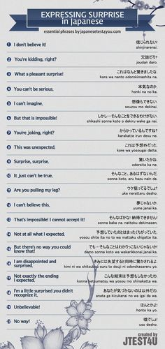 Infographic: how to express surprise in Japanese. http://japanesetest4you.com/infographic-how-to-express-surprise-in-japanese/