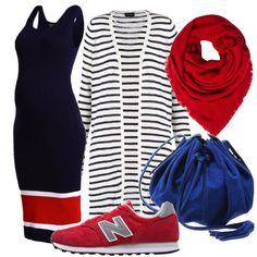 Per le mamme in attesa ci vogliono look comodi, ma comunque alla moda. In questo caso propongo un vestito in maglia blu navy con dettagli in rosso e bianco abbinato a un cardigan lungo a righe bianche e blu. Come accessori, un paio di sneakers rosse, una borsa a secchiello blu royal e una grande sciarpa rossa.