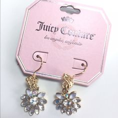 "Host Pick  Juicy Couture Earrings NWT Eye catching pretty crystal beads dangle from a crown on these wire earrings. Gold tone. 1.75"" drop. Glam Girl Host Pick by @alimikiger  Juicy Couture Jewelry Earrings"