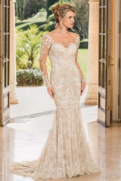 A Fall 2018 bridal collection inspired by Versailles? A royal muse is one surefire way to make us smile, but when we heard Casablanca Bridal is rolling out 21 new wedding gowns with this collection, we were goners. Bridal And Formal, Bridal Wedding Dresses, Bridal Lace, Designer Wedding Dresses, Lace Wedding, Party Wedding, Bridal Style, Mermaid Wedding Dress With Sleeves, Fit And Flare Wedding Dress