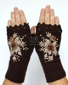 These unique hand knitted accessory can be a wonderful accent to Your clothes :)  Gloves are: length: 20 cm (8 inches); circumference of the wrist: 18 cm (7). fiber composition: 60% wool, 40% acrylic.  This is my own design.  MADE TO ORDER  I recommend hand washing in lukewarm water and air drying.  This item was knitted in a Smoke-Free home.  Please contact me with any questions.  Thank you for visiting my shop :)