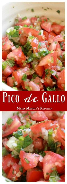 Pico de Gallo is one of the simplest Mexican recipes. It adds so much flavor to any of your dishes or great just as an appetizer. By Mama Maggie's Kitchen #mexicanfoodrecipes