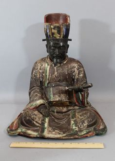 Antique-Early-Japanese-Edo-Period-Buddhist-Carved-amp-Lacquer-Yama-Judge-of-Hell