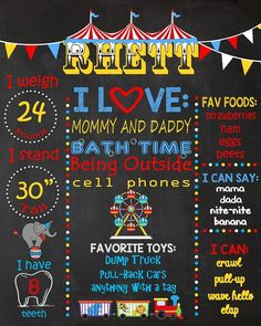 1st Birthday Chalkboards.  Circus Theme Birthday Chalkboard