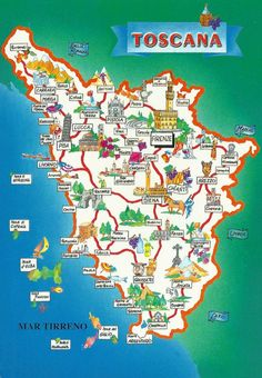 Tuscany (Toscana) is a region in central Italy with unbelievable beauty. Filled with landscapes & medieval hill-towns it is definitely worth a visit. Map Of Tuscany Italy, Italy Map, Sorrento Italy, Italy Italy, Naples Italy, Venice Italy, Italy Vacation, Italy Travel, Voyage Florence
