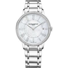 Baume & Mercier Classima 10227 Diamond, Mother-Of-Pearl & Stainless... ($4,800) ❤ liked on Polyvore featuring jewelry, watches, stainless steel wrist watch, stainless steel watches, diamond jewellery, bracelet watch and stainless steel jewelry