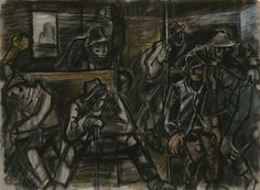 Bertalan Pór, On the train, 1935