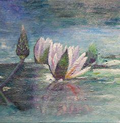 waterlillies, water, soft, romantic, art, painting, Bev Plowman