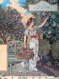 "Eugène GRASSET Calendrier ""La Belle Jardinière"" 1896 juin"