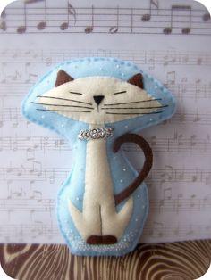 Groovy Winter Kitty  Felt Pillow or Wall Art by LowellandSon, $40.00