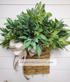 Mixed Forest  Greenery Door Hanger Basket Container Gardening Vegetables, Succulents In Containers, Container Flowers, Container Plants, Vegetable Gardening, Wreaths For Front Door, Door Wreaths, Plants For Hanging Baskets, Fall Planters