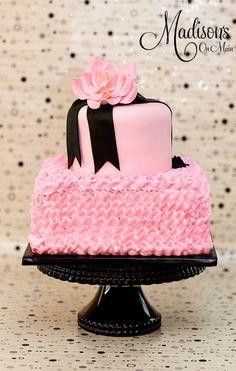 Pink Ruffled Cake & Black Ribbon