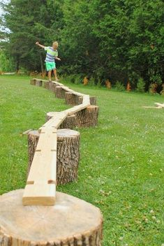 A simple invitation to build big and create with wood. Balance beams, boats - you name it. Great for heavy work and gross motor development, plus just plain old outdoor fun! fun ideas An Invitation to Build Big - How Wee Learn Outdoor Play Areas, Outdoor Games For Kids, Backyard For Kids, Outdoor Fun, Natural Outdoor Playground, Outdoor Activities, Backyard Games, Family Activities, Backyard Play Areas