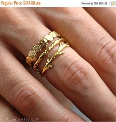 Holiday Sale Gold Pebble Raw Twig Ring Set|  Stacking Rings Set| Vermeil Rings