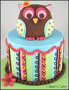 Colorful owl welcome cake by Sweet-Delights on CakeCentral.com