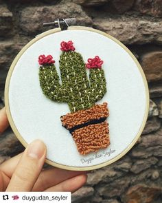 ( (ey g Punch sevenleer ep. … – Cactus … ( (ey g Punch sevenleer ep. Embroidery Hoop Art, Embroidery Designs, Cactus Embroidery, Cactus Craft, Cactus Cactus, Indoor Cactus, Punch Needle Patterns, Punch Art, Punch Punch