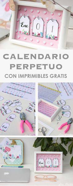 Calendario perpetuo con imprimible  gratis DIY #diy  #imprimible #printable #gratis #calendario