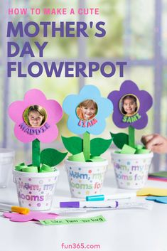 Have kids or students make these adorable flower pots for Mother's Day! This kid .Have kids or students make these adorable flower pots for Mother's Day! This kids' craft is the perfect way to show Mothers Day Crafts Preschool, Easy Mother's Day Crafts, Daycare Crafts, Fathers Day Crafts, Preschool Crafts, Flower Craft Preschool, Crafts Cheap, Diy Gifts For Kids, Diy For Kids