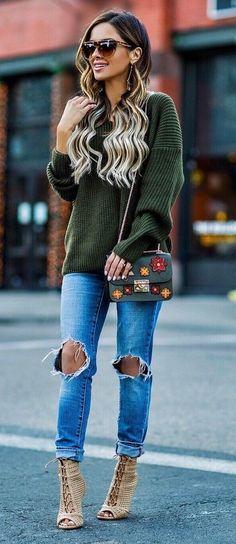 street style addiction top + bag + rips + heels