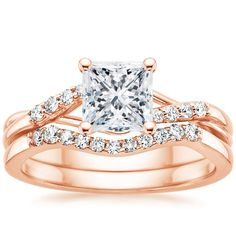 Princess Cut Chamise Diamond Bridal Set Engagement Ring - 14K Rose Gold