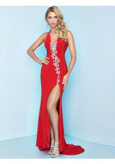 Sheath/Column Halter Sleeveless Chiffon Red Prom Dress/Evening Dresses With Beading #BK049