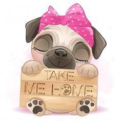 Baby Pugs, Baby Puppies, Terrier Puppies, Bulldog Puppies, Boston Terrier, Pug Kawaii, Boat Cartoon, Giraffe Illustration, Cute Drawlings