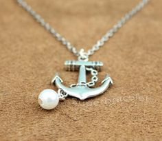 The Anchor Necklace Silver Custom Personalized by superbracelet, $2.99