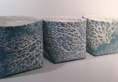 Mini Fabric Storage Basket Bin Organizer Containers (Set of 3)-Ocean Blue Coral Reef Print by Richtex Premium Prints with Ivory Interior by TheBasketGarden on Etsy https://www.etsy.com/listing/203249883/mini-fabric-storage-basket-bin-organizer