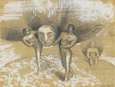 Odilon Redon (French, 1840-1916), L'Hémisphère. Pencil, pen and ink, gouache and black crayon on paper, 12.7 x 16.5 cm.