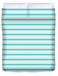 #fabrics #stripes #teal #wall-covering #art-prints #shower-curtains #totes #home-decor #accessories Duvet Cover featuring the digital art Teal-breeze by Page Newman