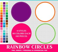 192 #Digital #Rainbow Circles Labels Clip Art . Commercial and Personal use, Instant download graphics.   This listing contains 192 Rainbow Colorful Circles images: 4 styles,... #thecreativemill #clipart #digital #rainbow #label #stitched #border #sticker #circle #tag