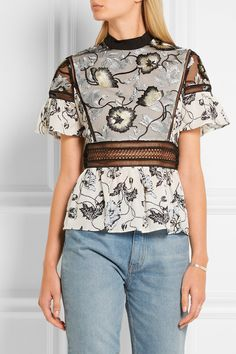 Self-Portrait   Lucia embroidered tulle and printed crepe de chine top   NET-A-PORTER.COM