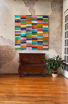 Improv Color Block quilt, made out of 8 solids, by Olive & Ollie for Coats & Clark
