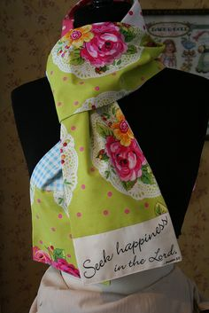 Oh my goodness, what a lovely idea!! Scripture scarves!!! (Etsy) I assume she printed out the words onto transfer paper...