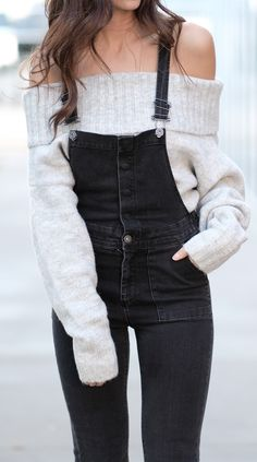 Off shoulder + overalls black overalls outfit, overalls winter, cute overalls, overalls fashion Sexy Outfits, Sexy Winter Outfits, Fall Outfits, Casual Outfits, Cute Outfits, Fashion Outfits, Fashion Trends, Cute Overall Outfits, Casual Ootd