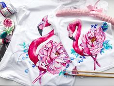 Acrylic on clothes, painting on clothes, painting on canvas, flamingo painting, painting on fabric, acrylic for fabric