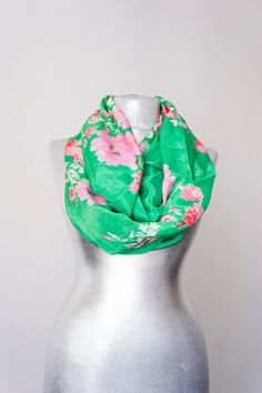 Women Scarf Floral Scarf - Scarf Infinity Scarf Chiffon Scarf Green Scarf Flower Scarf Summer Scarf For Her Fashion Accessories
