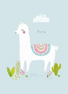Aless Baylis 'A4 Poster Hola Alpaca'