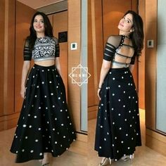 The Maa Santoshi Garments is one of the leading Crop top Manufacturer in India as they are indulged in making different varieties of crop tops, which vary in size, shape, style, design and colour. Contact Us- 8777753297 Blouse Lehenga, Lehnga Dress, Black Lehenga, Silk Lehenga, Black Saree Blouse, Lehenga Crop Top, Lengha Choli, Blouse Dress, Vestidos
